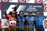 japan f1 race result schumacher engine blows alonso wins.-103111