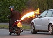 -bond scooter accessorized with flamethrower